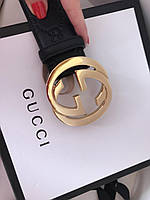 Женский кожаный ремень Gucci с пряжкой-логотипом золото