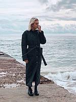 Зимнее стеганое женское пальто длинное с поясом