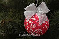 Новогодний шар Красный со звездочками и снежинками 11 см