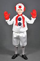 Детский карнавальный костюм СНЕГОВИК на 5,6,7,8,9 лет новогодний костюм СНЕГОВИКА детский