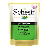 Schesir Chicken Fillet ШЕЗИР ФИЛЕ КУРИЦЫ влажный корм натуральные консервы для кошек, куриное филе в желе, пауч 100 г , 0.1 кг.