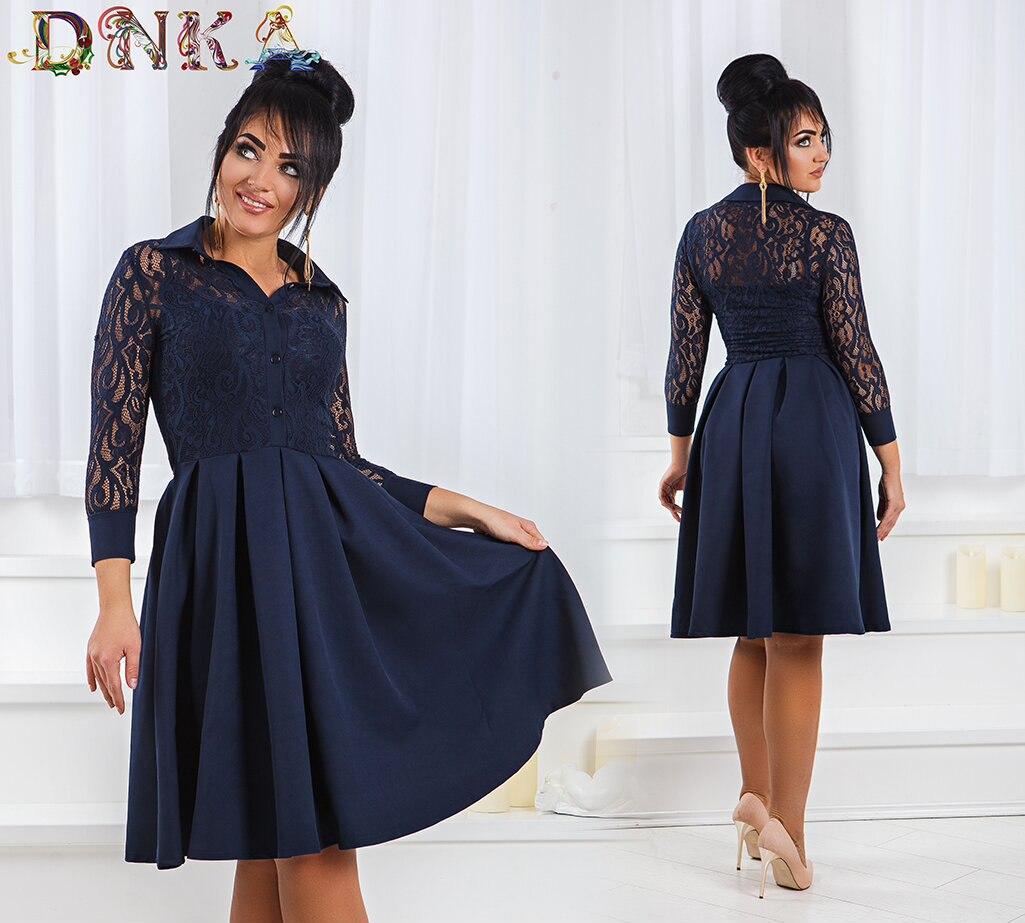 """Платье """"Amanda"""" ,с кружевным облегающим верхом и юбкой клеш размеры от 42 до 52  код   1/8513"""