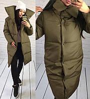 Стеганое зимнее теплое водоупорное пальто куртка на синтепоне с высоким шалевым воротом