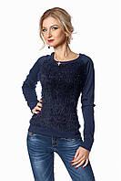 Теплая женская кофта для повседневной носки тёмно-синяя размер:42,44,46,48,50