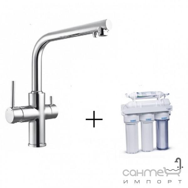Смесители Imprese Смеситель для кухни однорычажный Imprese Daicy 55009-F + фильтр воды обратного осмоса 5-и ступенчатый