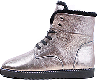 Зимние женские кожаные ботинки на меху, платина