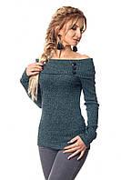 Элегантная женская кофточка с открытыми плечами бутылочного цвета размер:42-44,46-48