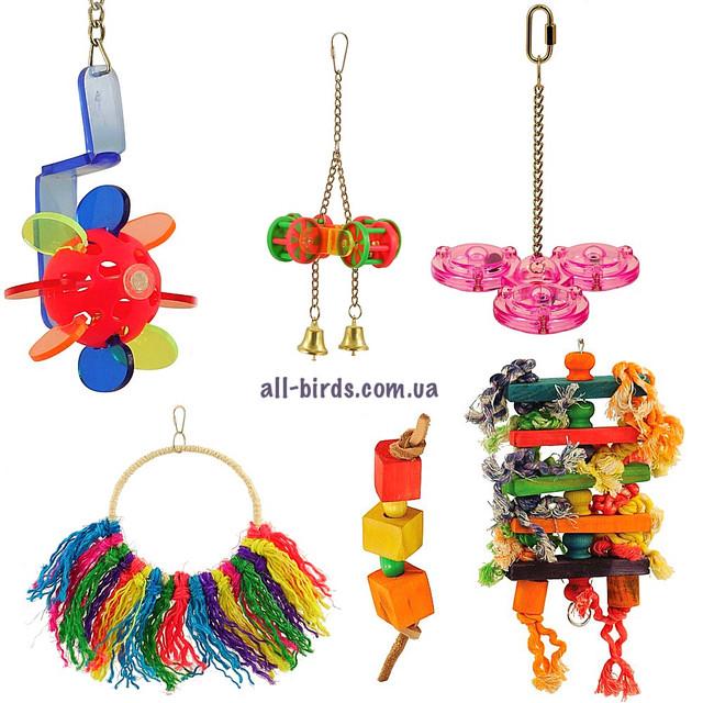 Іграшки та гойдалки для папуг і птахів