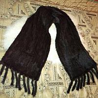 Женская норковая шаль, палантин из скандинавской вязанной норки, 175 cm*40 cm шоколад