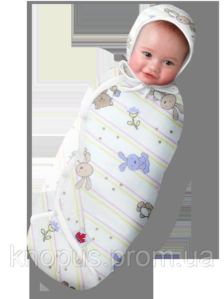 "Пеленка-кокон ""Крепкий сон Фланель 3"" белая с рисунком ""Зайчата"", Ontario Baby, на 6-9 месяцев"