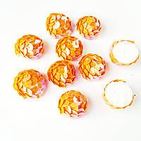 Паетки Оранжевые пенопластовые заготовки для декора, поделок 1.8 см 100 шт/уп