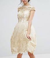 Золотисто  Белое Вечернее Платье Короткое Пышное на Свадьбу Роспись RSG-2235-4