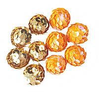 Паетки Оранжевые+Золотые пенопластовые заготовки для декора, поделок 1.8 см 100 шт/уп