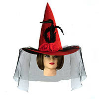 Шляпа Ведьмы атласная (красная)