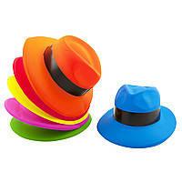 Шляпа Мужская пластик с лентой цветная