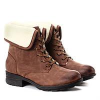 Зимние женские ботинки на меху и шнуровке