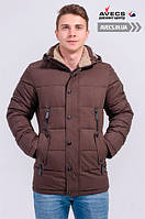 Мужская зимняя куртка Avecs 963 Brown наполнитель тинсулейт холодная зима недорого | Avecs куртка размер