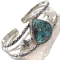 Великолепный браслет-манжет с камнем хризоколла в серебре. Индия!