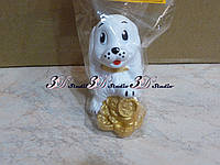 Сувенир статуэтка Собака с монетками керамическая