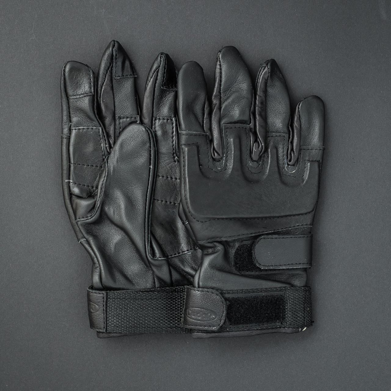 Рукавички шкіряні тактичні (чорні)