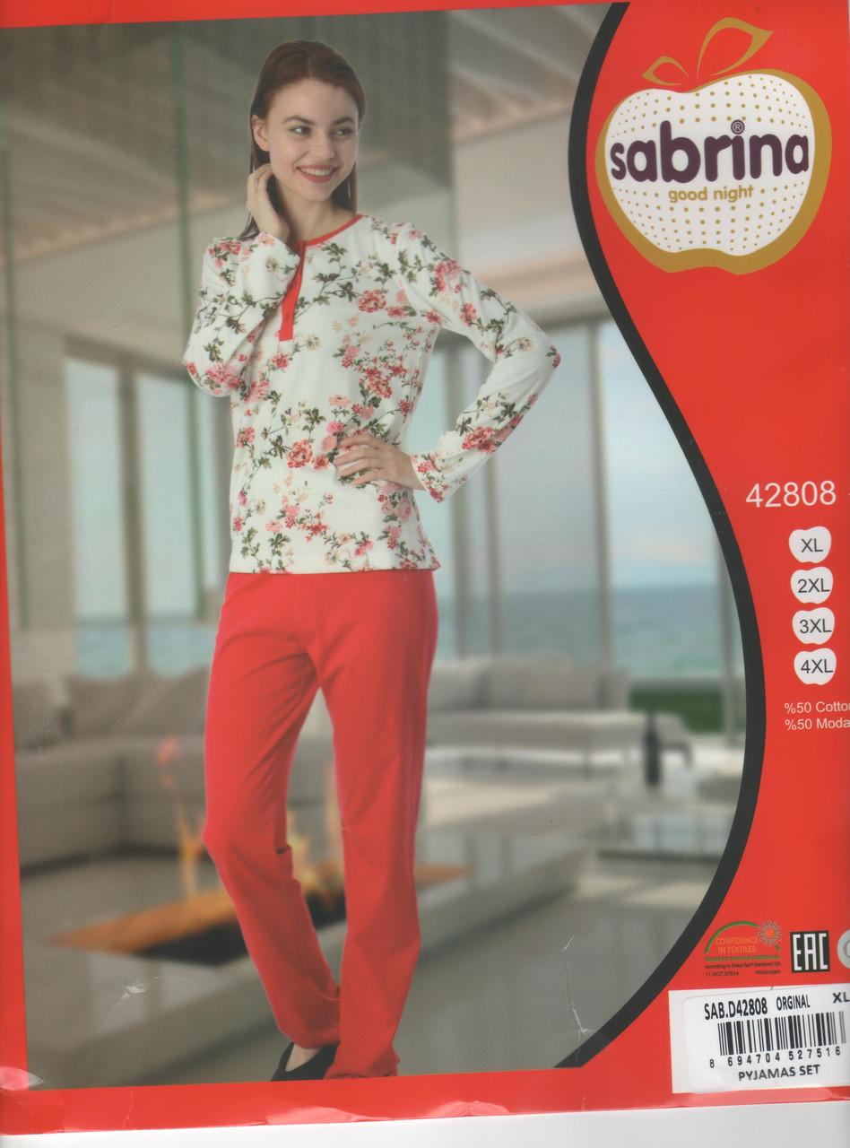 Пижама женская Батальные размеры с брюками  красного цвета