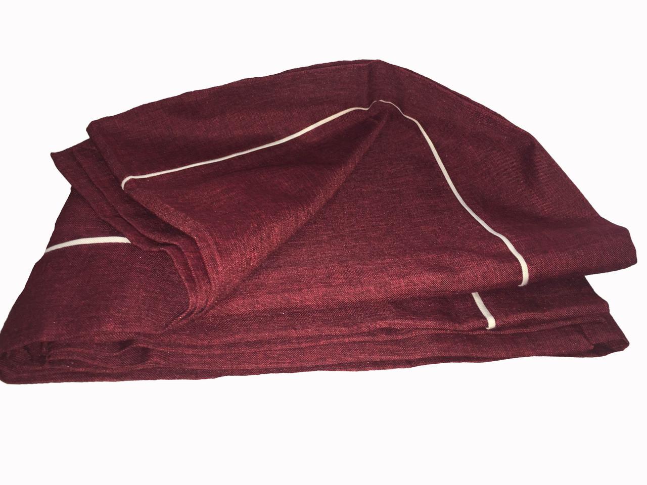 Однотонна скатертину кольору Марсала на кухонний столик 110-160 див.
