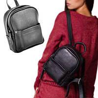 Маленький кожаный рюкзак женский carbon mini black Jizuz