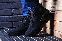 Мужские зимние кроссовки Nike Air Huarache (Найк Хуарачи) черные