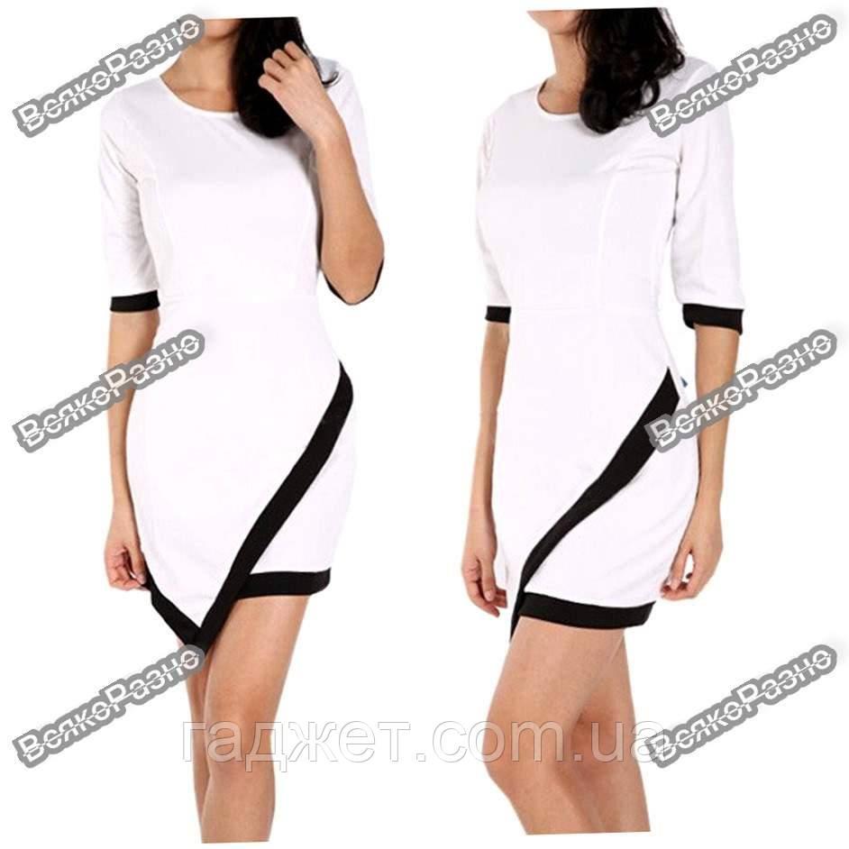 Асимметричное платье белого цвета. Размер L. Женское платье