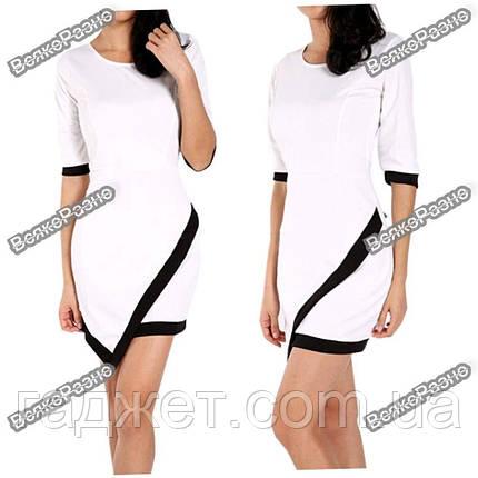 Асимметричное платье белого цвета. Размер L. Женское платье, фото 2