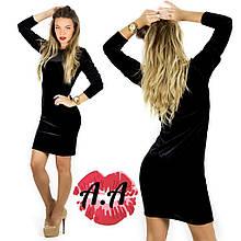 Платье женское велюровое стрейч S M L длина 90 см