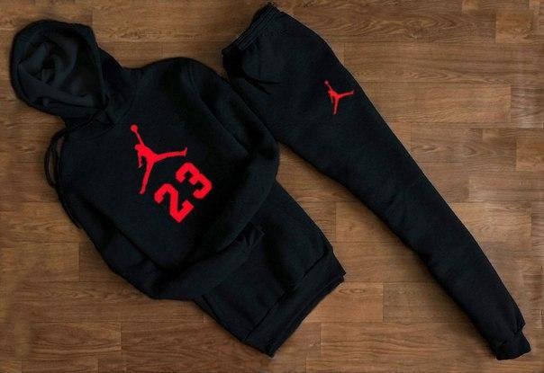 Весенний спортивный костюм Jordan с красным логотипом топ реплика, фото 2