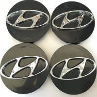 Колпачки заглушки на титановые диски Hyundai 60/55 мм черн хром пластик  эмблема объемная