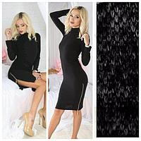 Черное платье-гольф с молнией из ангоры