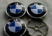 Колпачки заглушки на титановые диски BMW 60/ 55 мм черн хром синий пластик