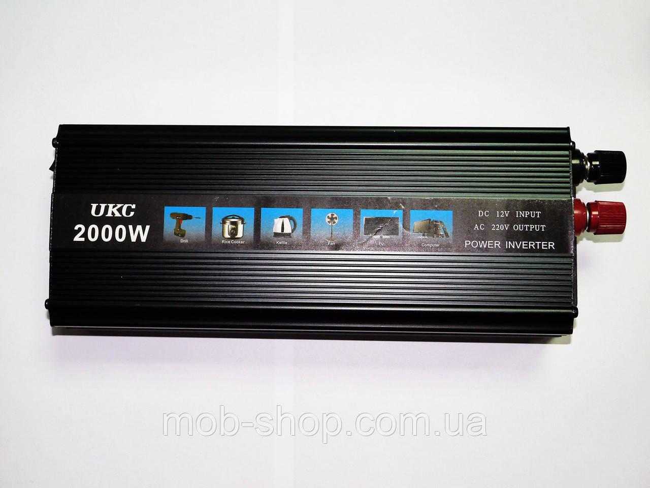 Инвертор преобразователь напряжения Power Inverter UKC 12V-220V 2000W Black