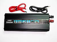 Инвертор преобразователь напряжения Power Inverter UKC 12V-220V 2000W Black, фото 5