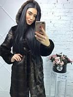 Женская шуба 100 см цвета махагон  до колен  с капюшоном из искусственного меха 13224-2SU
