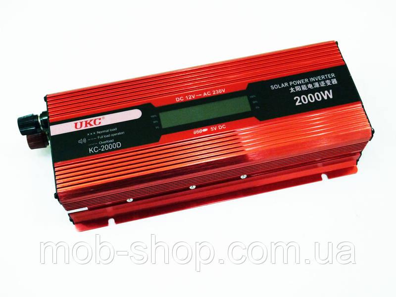 Инвертор преобразователь напряжения Power Inverter UKC 2000W KC-2000D с LCD дисплеем