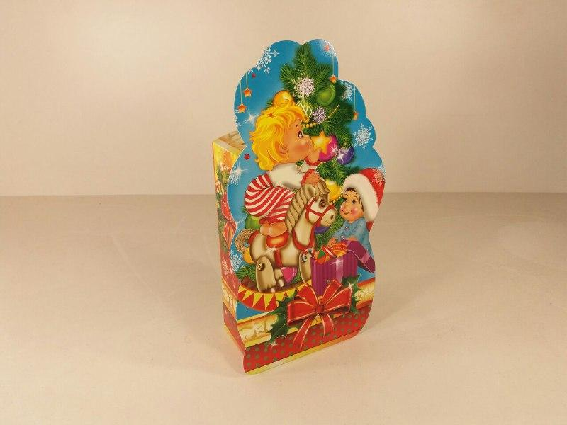 """Новогодняя картонная коробка для конфет, """"Дети и и граммушки"""", на 700грамм, (25 шт)"""
