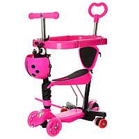 Самокат детский  iTrike Maxi 5 in 1 - светящиеся колеса, бампер, ручка для родителей - Розовый