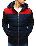 Зимняя мужская стеганная куртка с красными вставками на плечах