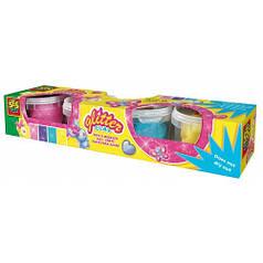 Незасыхающая масса для лепки - СВЕРКАНИЕ 4 цвета, в пластиковых баночках 00466S Ses Creative
