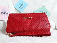 Женский кошелек на  молнии красный искусственная кожа