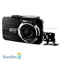 Автомобильный видеорегистратор Hewlett-Packard F870G с 2 камерами (1 выносная) и GPS модулем