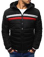 Зимняя мужская стеганная куртка с красно-белыми вставками
