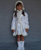 Детский новогодний костюм для девочки Снегурочка атласный разных цветов от 3 до 7 лет
