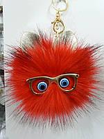 Красные брелоки помпоны с ушами для сумок и ключей, меховые брелоки оптом (12 см) 267