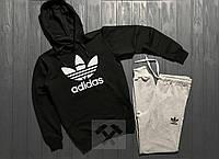 Костюм спортивный Adidas с капюшоном черный верх, серый низ