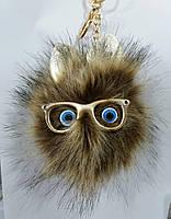 Коричневые брелоки помпоны с ушами для сумок и ключей, меховые брелоки оптом (12 см) 270